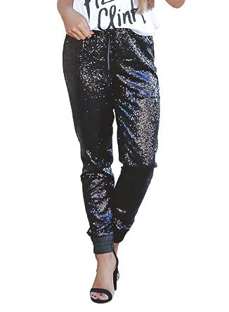 ff6d7a99 Elapsy Womens Ladies Fashion Sequins Yoga Sports Drawstring Satin Joggers  Trousers Slim Elastic Club Pants Black