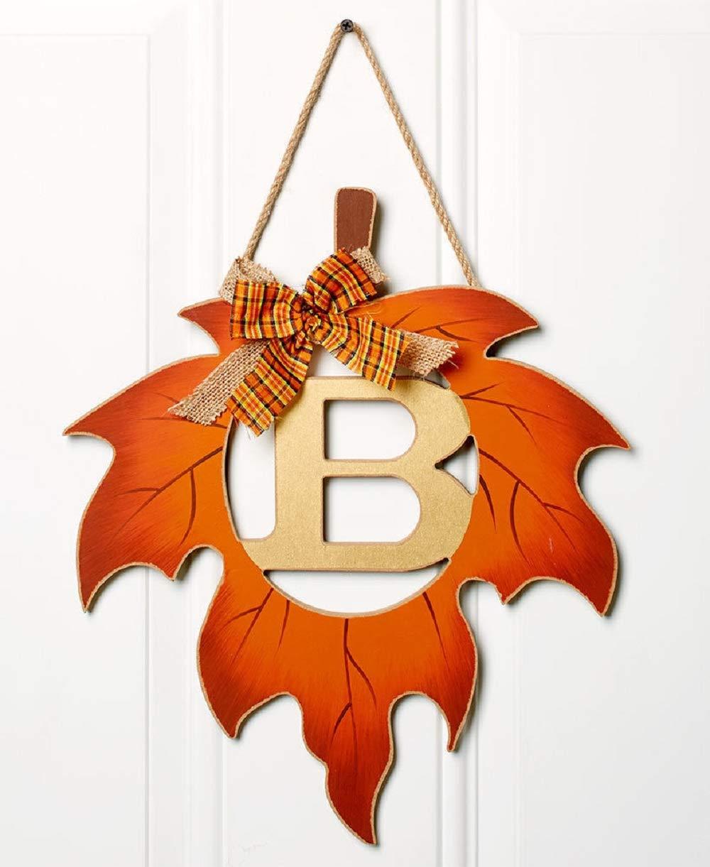 ginsengstone Harvest Leaf Monogram Letter B, Door Hanger Fall Thanksgiving Seasonal Home Decor