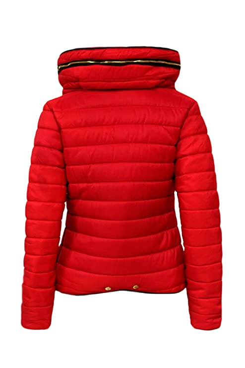 696d8e5cc Malaika ® Ladies Quilted Padded Puffer Bubble Fur Collar Warm Thick ...