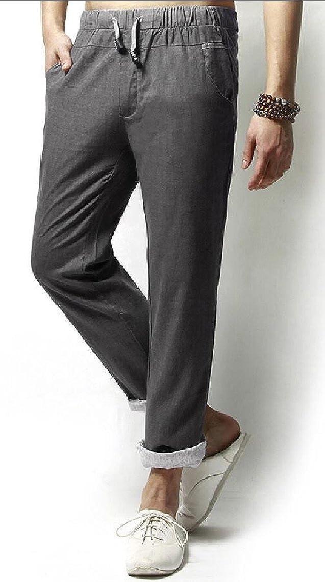 Yayu Mens Drawstring Cotton Linen Pant Lightweight Summer Trousers