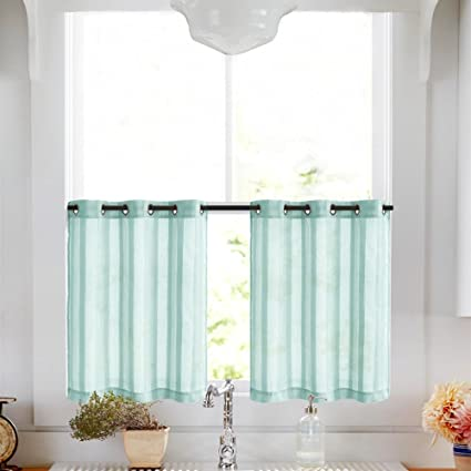 Sheer Tier Curtains for Windows 24 inch Kitchen Tiers Curtain Set Grommet  Cafe Curtains, 2 Panels, Turquoise Blue