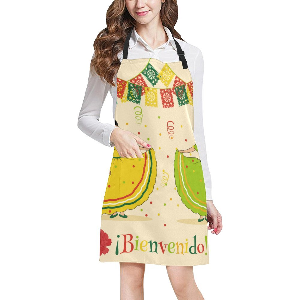 InterestPrint Adjustable Bib Apron with Pocket Mexican Women Dancing Kitchen Apron for Cooking Baking Gardening Pet Grooming Cleaning