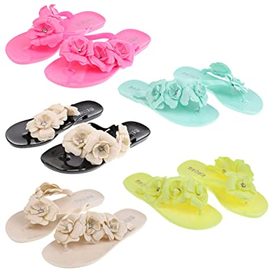 46f26d4956133b Segolike Wholesale Piece of 5 pairs Women Boho Slippers Jelly Sandals  Casual Flip Flops Beach Shoes  Buy Online at Low Prices in India - Amazon.in