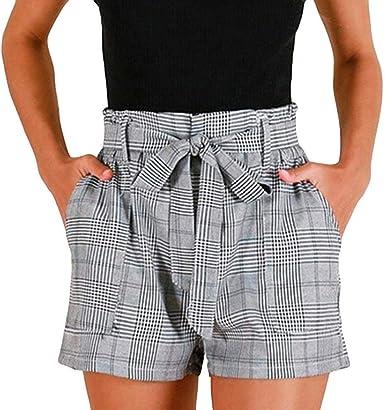 Short à Carreaux à Rayures pour Femmes en Vrac Pantalons
