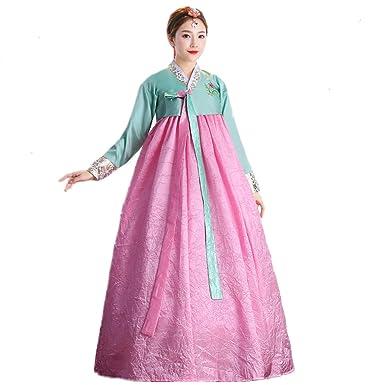 e7eb7eada XINFU Korean Traditional Women's Hanbok Set Long Sleeve Colorful Dress  Cosplay Costume: Amazon.co.uk: Clothing