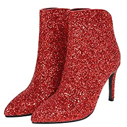Women's Glitter Stiletto High Heel Ankle Boots