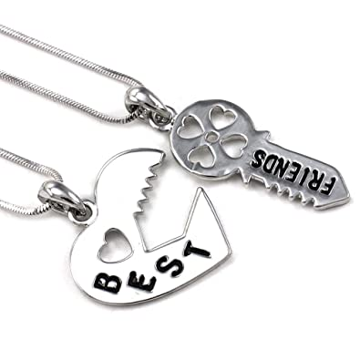 Valentineu0027s Day Gift Love Best Friend Key Lock Heart Necklace Pendant  Friendship Jewelry Engraved