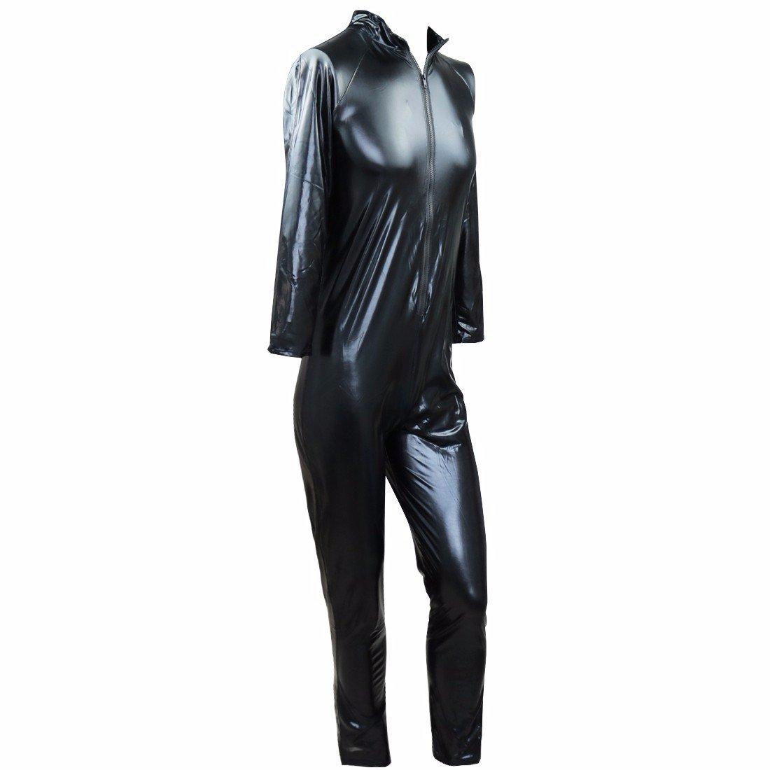 FEESHOW Wetlook Herren Body Zip Lederoptik M/änner Dessous Bodysuit Catsuit Overall Schwarz