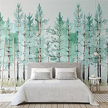 3D Tapete Für Schlafzimmer | Weaeo Benutzerdefinierte Wandbild Moderne Mode Mintgrun Frische Wald