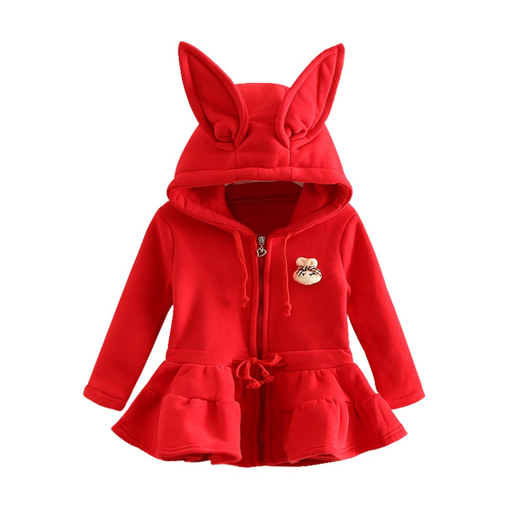 Mud Kingdom Girls' Hooded Ruffle Bottom Fleece Jacket Rabbit Winter Dress SS0048