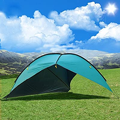 Oxking Outdoor 5-8 Person Beach Canopy Tent Large Triangular POP UP Sun Camping Fishing Shelter Garden Party Pergola with Cloth Around Yard Patio Gazebo Family Shade