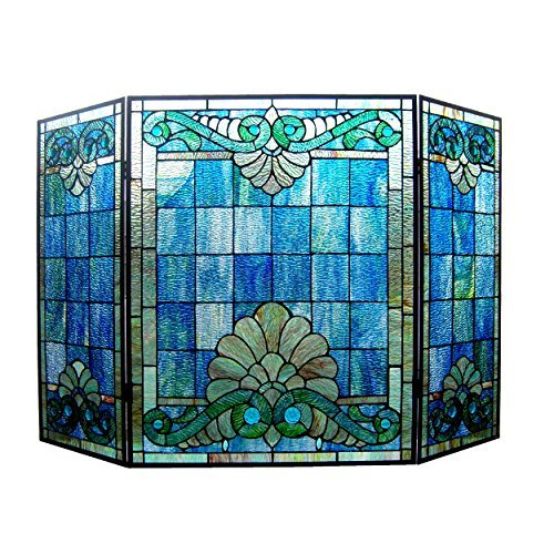 - Chloe Lighting 3 Piece Keanu Tiffany-Style Folding Victorian Glass Fireplace Screen, One Size, Multicolor