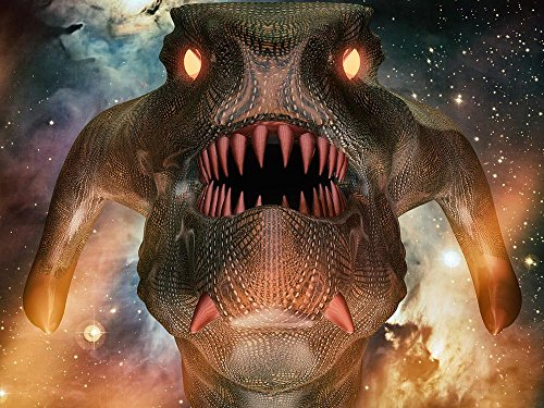 LAMINATED 32x24 inches POSTER: Creature Reptillian Reptile Snake Evil Eyes Face Frightening Green Halloween Lizard Mask Monster Demonic Scale Scary Demon Dragon Wicked Desert Ground Sundown
