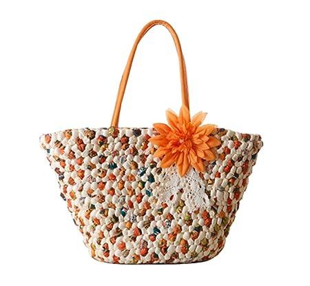 FAIRYSAN Woven Women Straw Beach Bags Summer Casual Handbags Ladies Crochet  Shoulder Tote with Flower Orange  Amazon.co.uk  Luggage