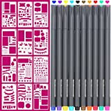 Arts & Crafts : Fineliner 10 Colored pens and 4x7 inch Stencils, Plastic Planner Bullet Journal School Supplies Notebook Diary Scrapbook 12 Pieces DIY Drawing Template