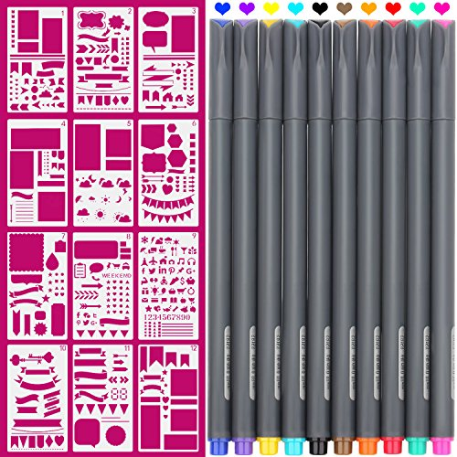 Planner Template - Fineliner 10 Colored pens and 4x7 inch Stencils, Plastic Planner Bullet Journal School Supplies Notebook Diary Scrapbook 12 Pieces DIY Drawing Template