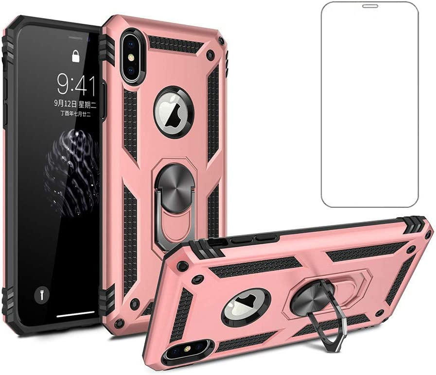 Phone Case for Apple iPhone Xs 10xs max Caseswith Tempered Glass Protector Ring Holder Stand iphonexs i xplus 10 10s 10x x10 Plus Maxcase Shockproof Back Cover Pink