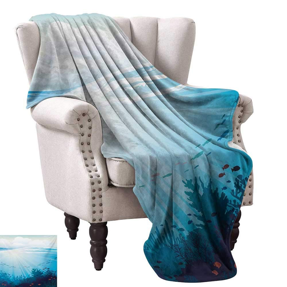 color05 80\ color05 80\ Anyangeight Digital Printing Blanket,Ocean Design with Fish Aquarium Image Coral Reef Waves Artwork Print 80 x60 ,Super Soft and Comfortable,Suitable for Sofas,Chairs,beds