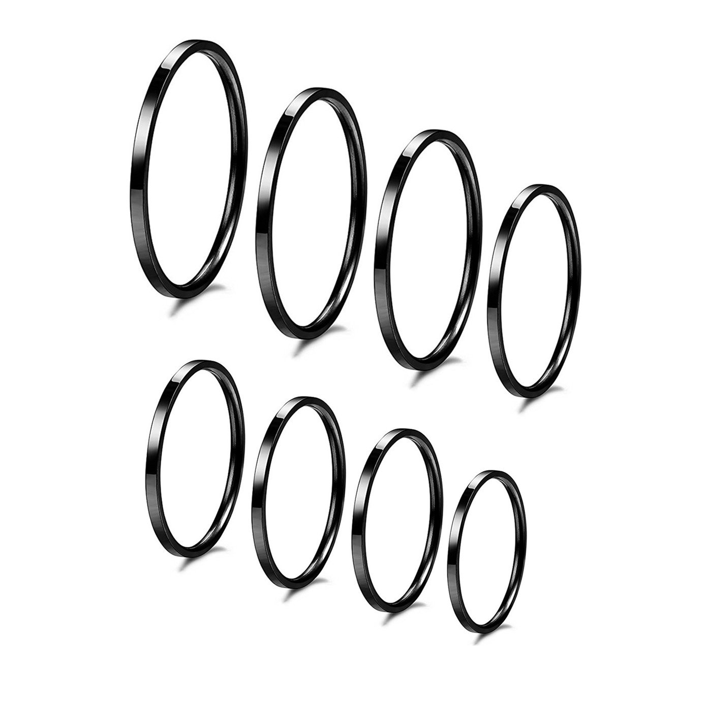 IFUAQZ 8pcs 1MM Thin Stainless Steel Knuckle Midi Stacking Rings for Women Girls Plain Band Comfort Fit Black, Size 3 to 10