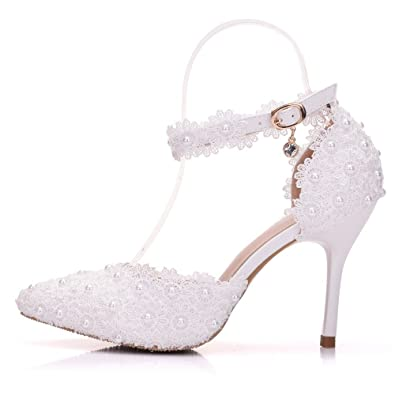 c471299429d1f Amazon.com | FORTUN Pointed Toe Stiletto Wedding Shoes White Pearl ...