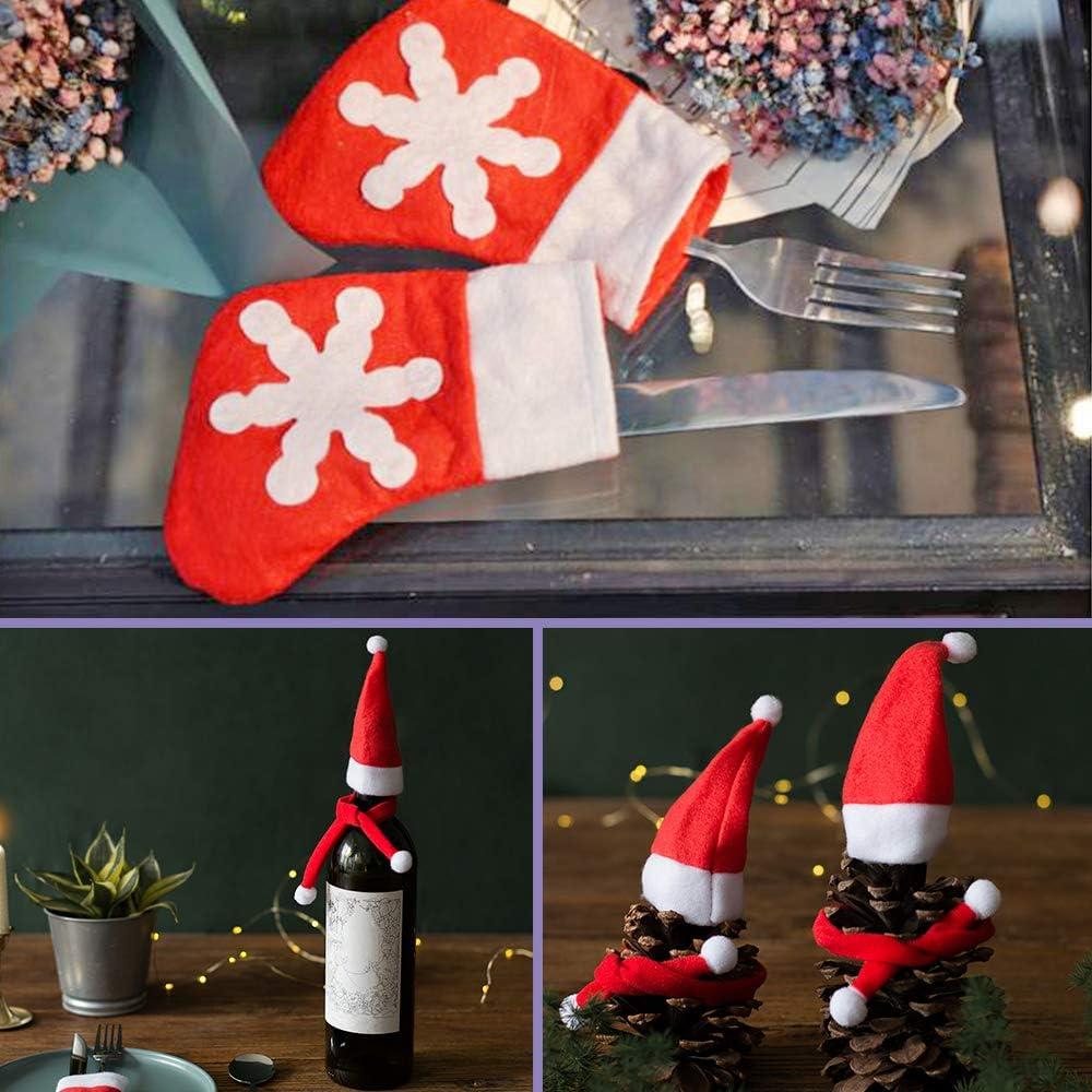 sac /à couverts et mini /écharpe bonbons de p/ère No/ël DanziX Lot de 25 porte-vaisselle de No/ël avec motif flocons de neige bouteille de vin pour les f/êtes de vacances fournitures de table
