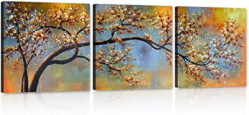 Yatsen Bridge Plum Blossom Wall Art Prints Modern Abstract Picture 3pcs Paintings on Canva