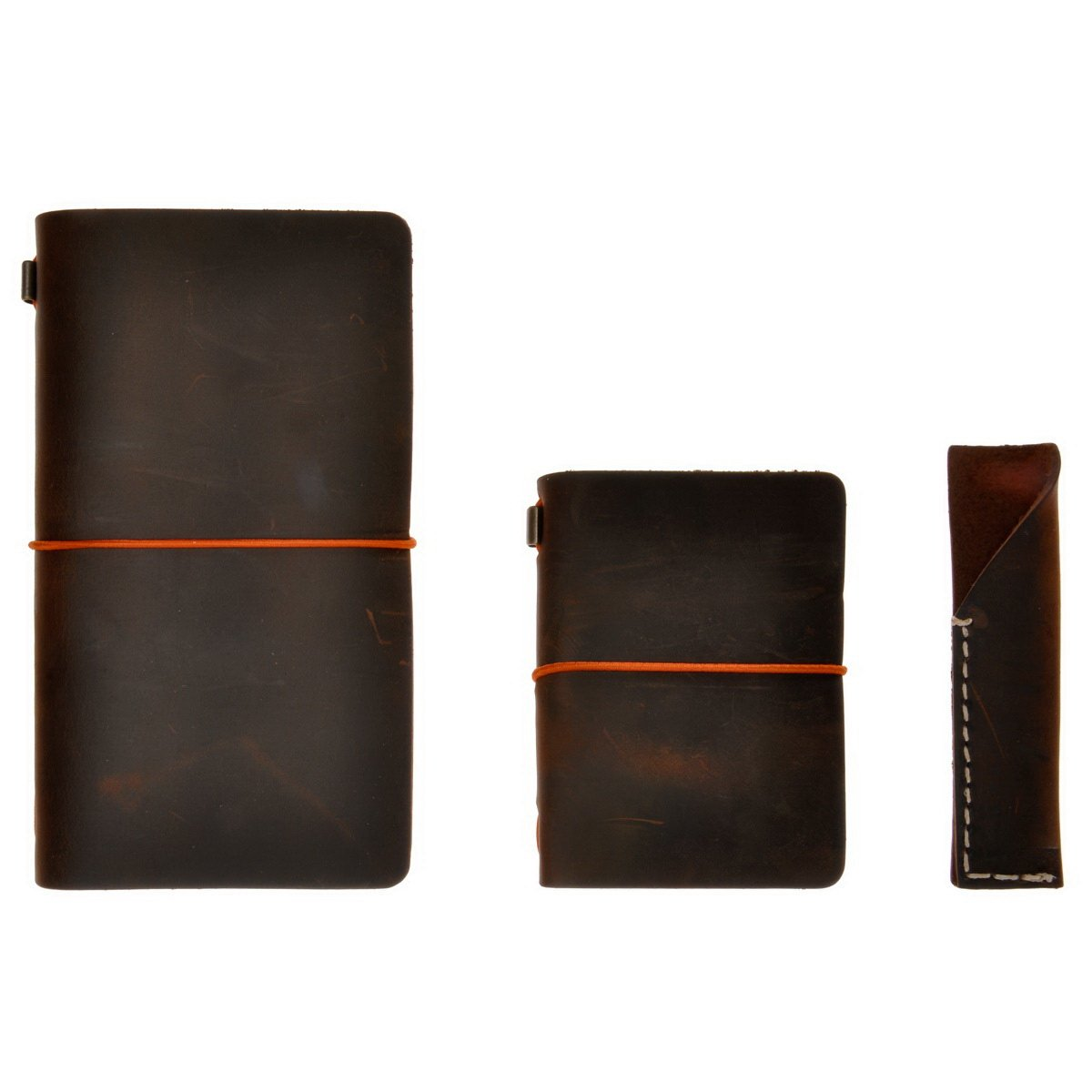 Refillable Leather Journal Vintage Travelers Notebook Set, 4.7'' x 8.6'' &3.9'' x 5.2'', with Pen Holder, for Men Women Writing Gift, by ZLYC, Dark Coffee
