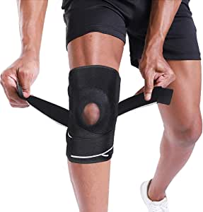 BERTER Knee Brace Support, Men Women Knee Compression Sleeve Breathable Knee Pad & Recovery Aid, Open Patella with Strap for Basketball, Arthritis, Running and Hiking
