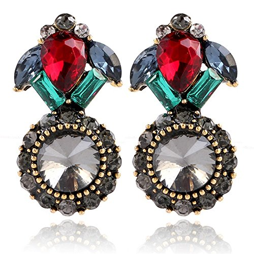 Simulated Diamond 18K Gold Plating Gem Earring Retro Jewelry Anniversary Gift by YJEdward