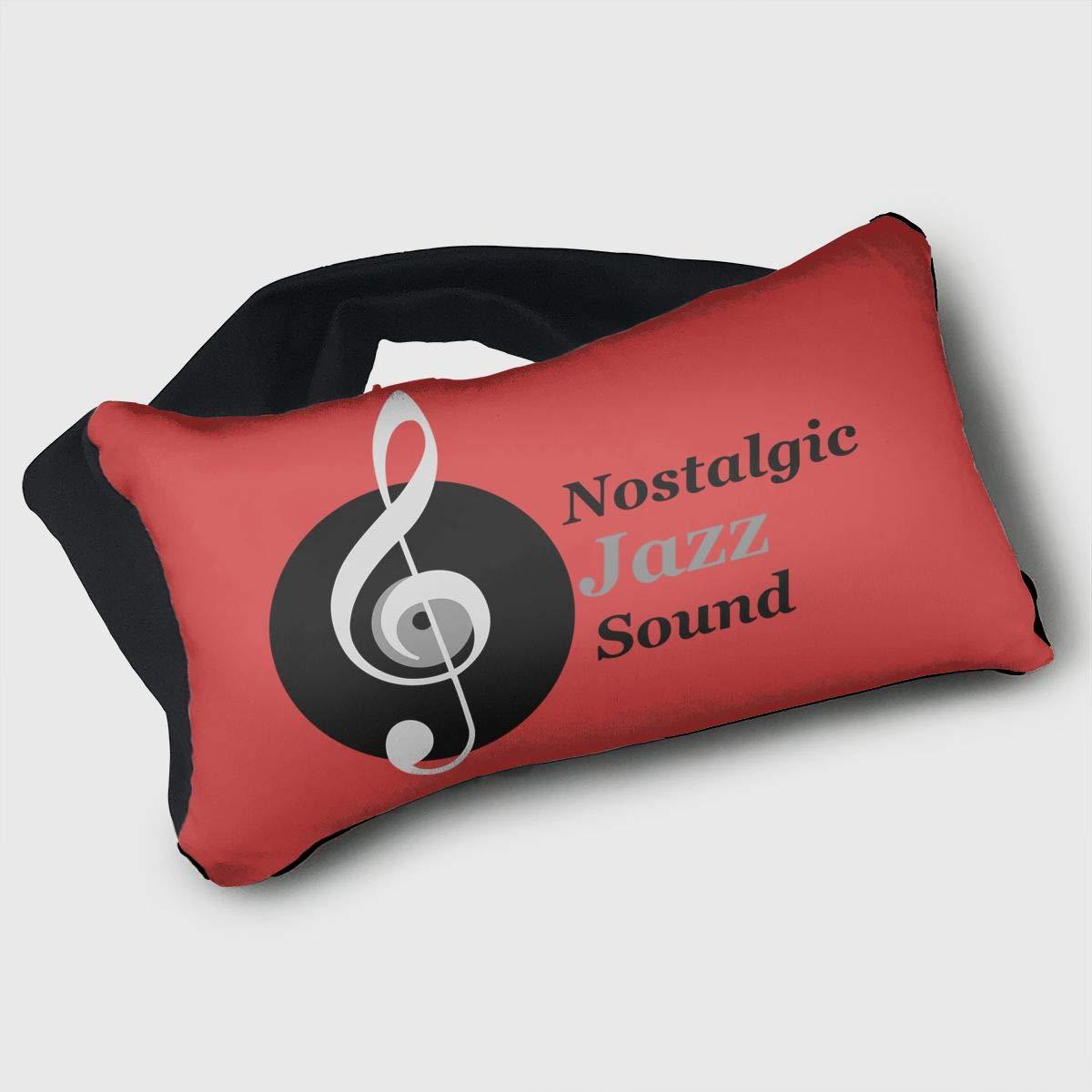 Voyage Travel Pillow Eye Mask 2 in 1 Portable Neck Support Scarf Nostalgic Jazz Sound Ergonomic Naps Rest Pillows Sleeper Versatile for Airplanes Car Train Bus Home Office