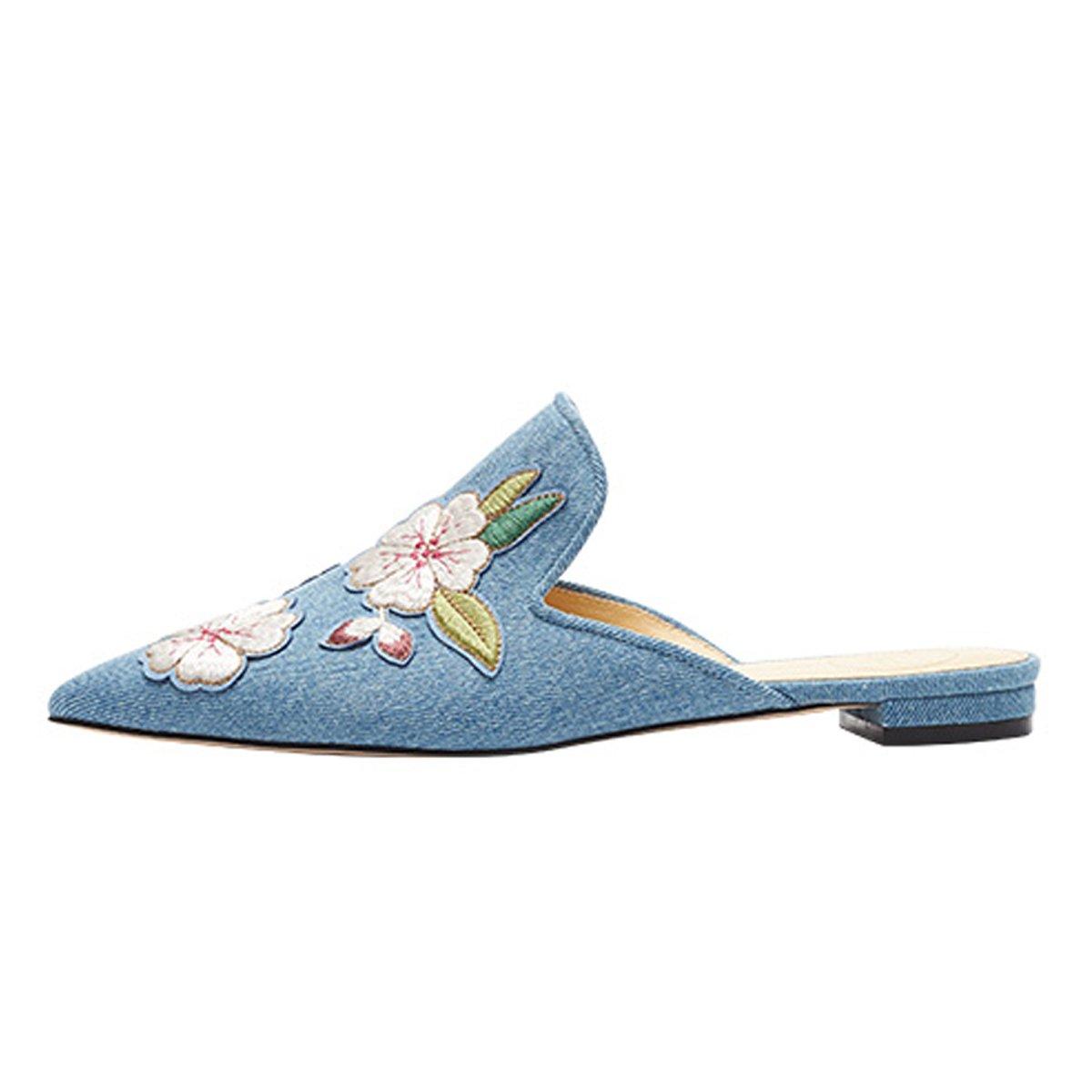 301a5abedaa51 Lovirs de las mujeres de terciopelo sin respaldo resbalón en los holgazanes  pisos bordado mule zapatillas zapatos Mezclilla