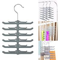 Bluelans® 12 Bar Plastic Tie Hanger, Coat Scarfs & Belt Rack Mens Organiser