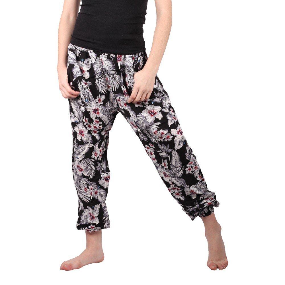 Lori&Jane Big Girls Black White Flower Pattern Harem Pants 16