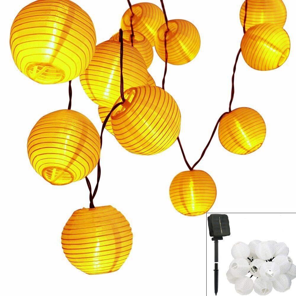 Solar LED Lanterns String Lights, ALED LIGHT 18.1Ft 5.5M 30 LED Waterproof Outdoor Decorative Stringed LED String Lights Lanterns for Party,Christmas,Garden,Patio,Halloween, Decoration (30LED-18.1ft)