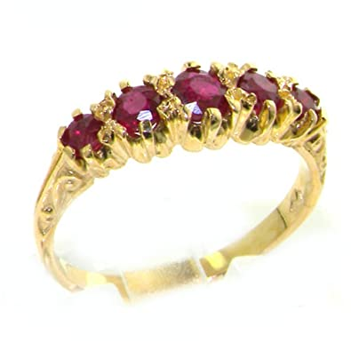 Luxury 9ct Yellow Gold Ladies English Made Ruby Solitaire 0.73ct Engagement Ring 8RbSna