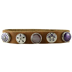 Quiges - 12mm Snap Button Bracelet Brown with 5 Snap Buttons Set #39