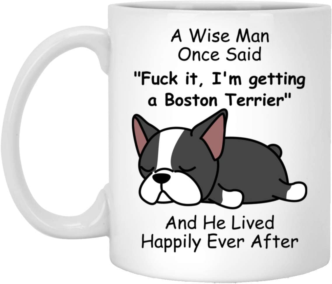 Funny Boston Terrier Gifts For Men Dog Dad Puppy Lovers - A Wise Man Once Said Coffee Mug White 11oz