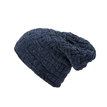 b37d7475eb58b4 Amazon.com: SUKEQ Slouchy Beanie Hat for Men and Women Winter Warm Chunky  Soft Skull Cap Cable Knit Oversized Ski Cap (Navy): Home & Kitchen