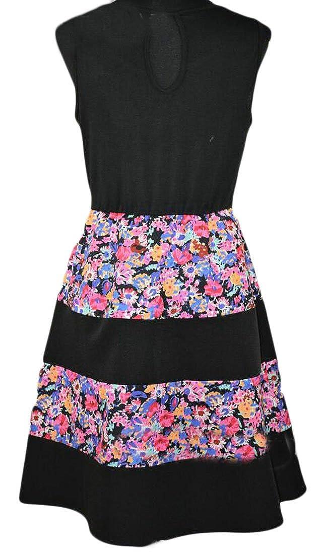 GloryA Womens Pleated Tank Printed Swing Patchwork Vogue Short Dress