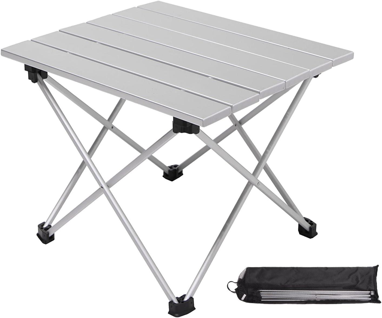 Moon Lence キャンプ テーブル アルミ ロールテーブル アウトドア ハイキング BBQ 折りたたみ式 コンパクト 超軽量 耐荷重30kg 収納袋つき シルバー S/Mサイズ