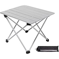 Moon Lence キャンプ テーブル アルミ ロールテーブル アウトドア ハイキング BBQ 折りたたみ式 コンパクト 超軽量 耐荷重23kg 収納袋つき シルバー S/Mサイズ