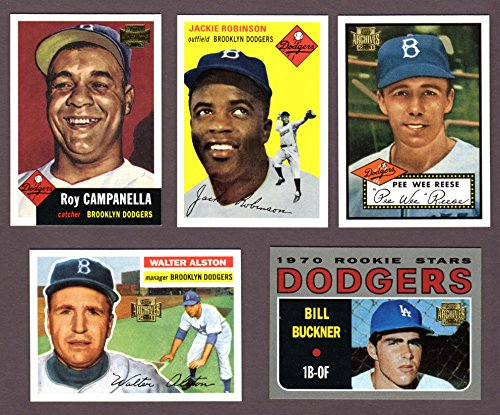 Dodgers (5) Card Heros and Hall of Famer Vintage Baseball REPRINT Lot #57 (Pee Wee Reese) (Jackie Robinson) (Roy...