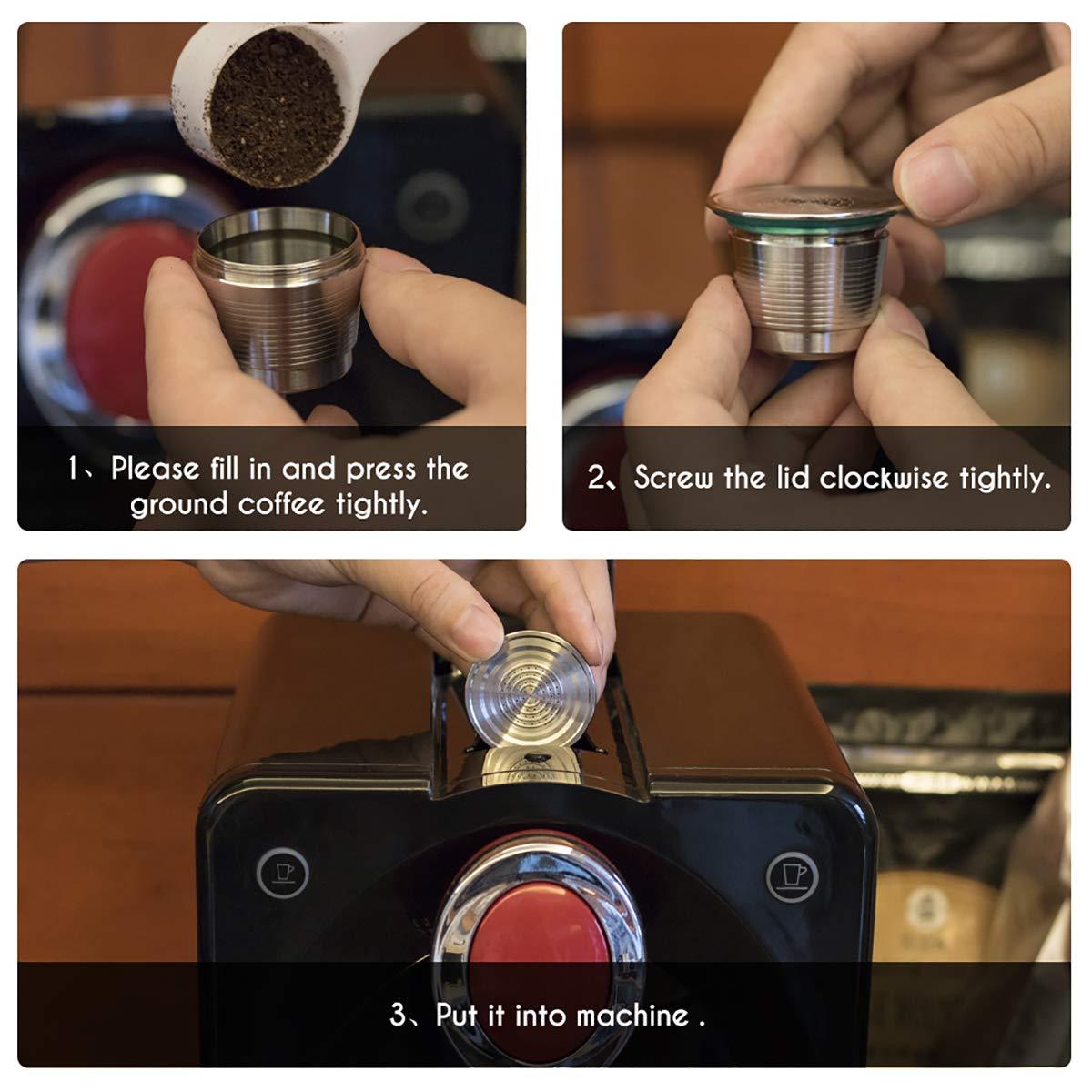 inkl nachf/üllbar Konesky Kaffeekapseltasse aus Edelstahl Pinsel und L/öffel wiederverwendbar