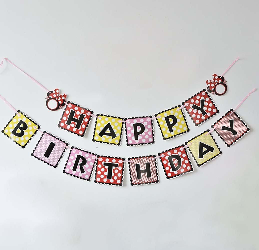 Feliz cumpleaños Bunting Banner guirnalda de papel Mickey ...