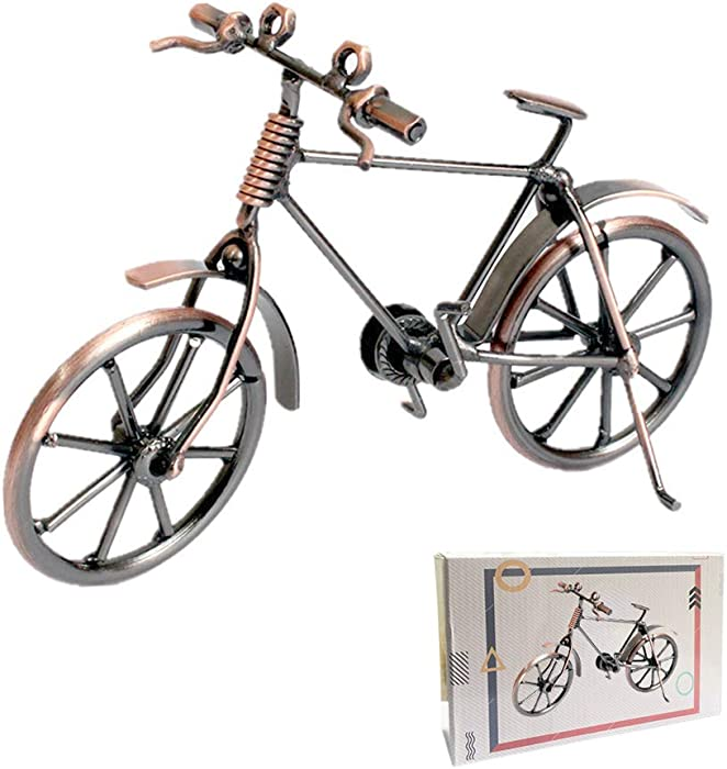 Shuxy Bicycle Decor Unique Metal Bicycle Home Office Bike Decoration Art Ornaments Figurines Bike Red Copper Bike Decor Iron Decorative Bicycle Classic Bike Sculpture for Children Toys Gifts