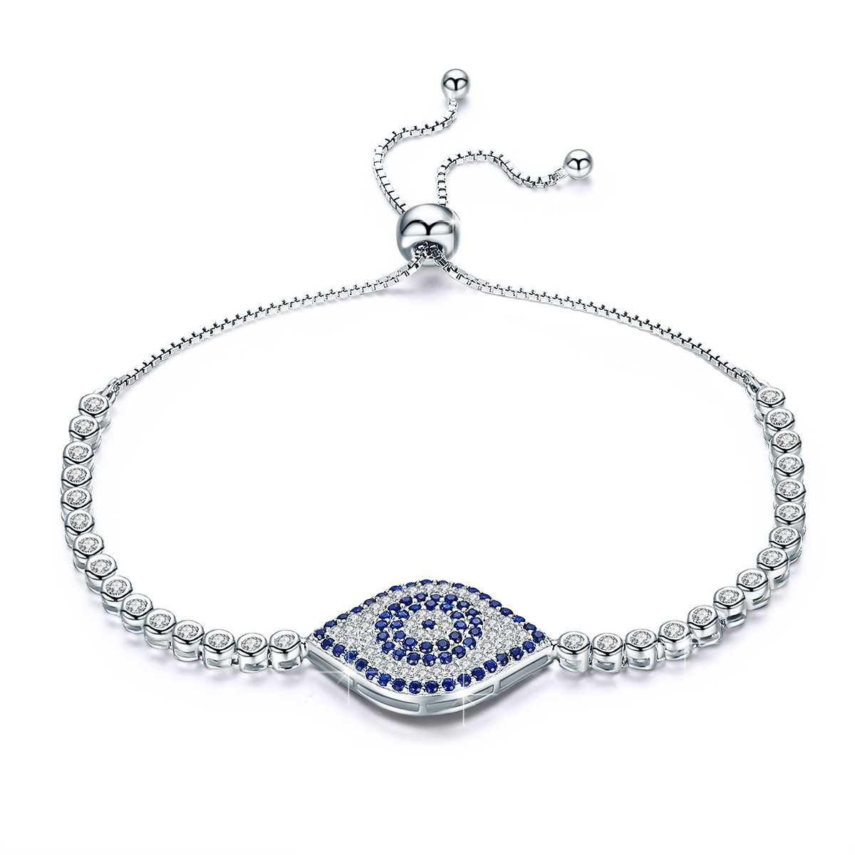 BAMOER 925 Sterling Silver Expandable Lucky Blue Evil Eye Chain Bracelet with Sparkling Cubic Zirconia for Women Girls Style 1