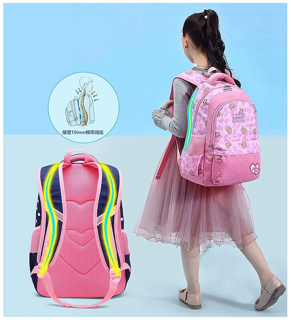 FLHT Mädchen Tasche Rucksack Grundschule Wasserdicht Leichte Große Kapazität 6-12 6-12 6-12 Jahre Alte Schulkinder Rucksack Tasche Aufbewahrung Bag 4f0f2c
