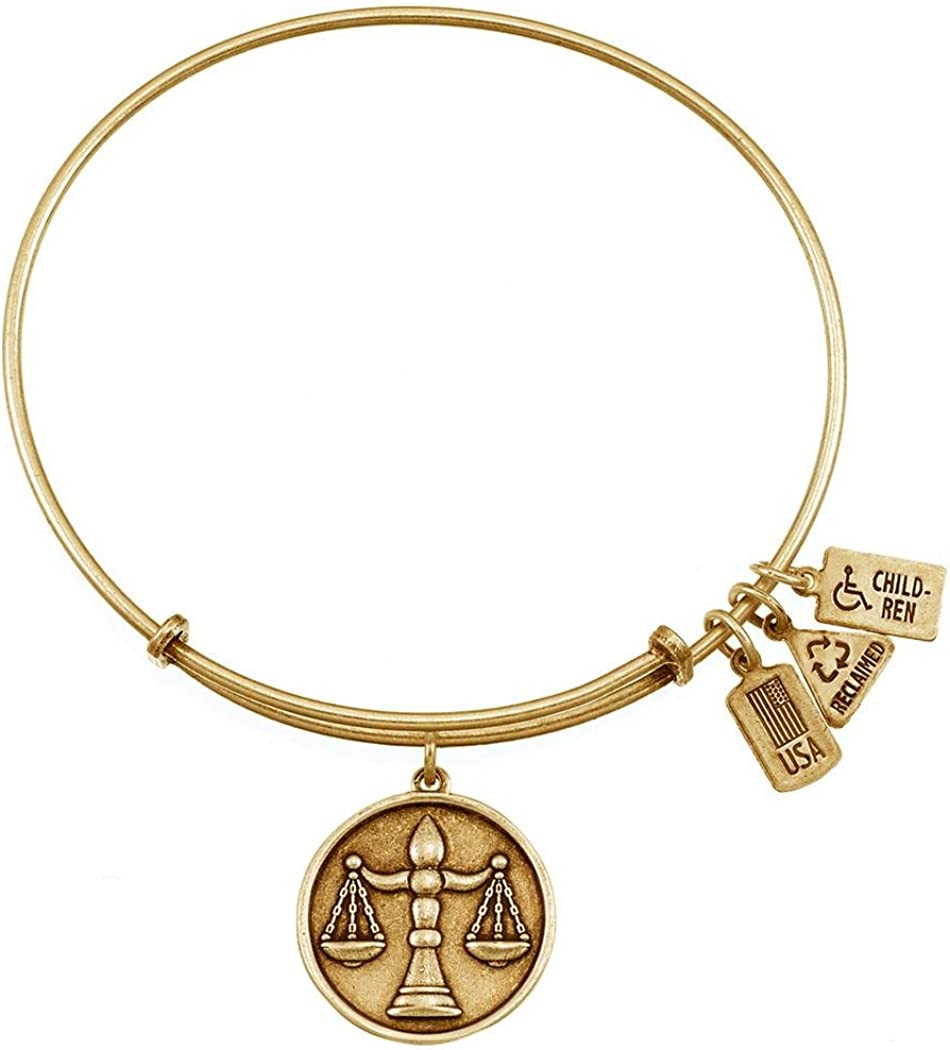Wind /& Fire Scales of Justice Gold Finish Charm Bangle