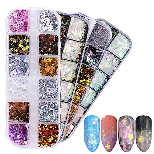 4 Sets Dazzling Nail Glitter - Mixed Sequins Nail Dust, Iridescent DIY Flake Nail Art Mirror Mermaid Shimmer Effect Nail Decoration (48 Grids) ()