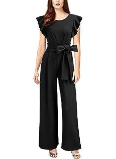 d694cc2cc808 Knitee Women s Sleeveless Ruffle Shoulder High Waist Wide Leg Rompers Jump  Suit